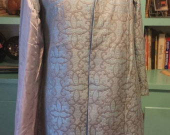 Baby Blue Brocade Sixities Shift Dress Evening with Sleeveless Coat M Union Made 60s