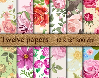 """Floral Digital Papers: """"RED PINK ROSES"""" pink roses , red roses , shabby chic floral , decoupage papers , vintage papers"""