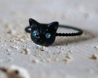Cat Ring - Cat Head Ring - Tiny Cat Ring - Kitten Ring