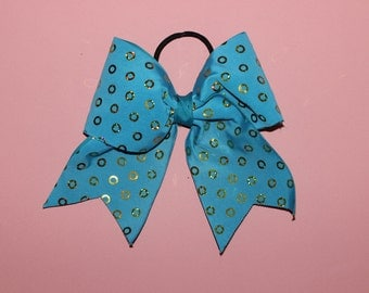 Blue and Gold Ring Cheerleading Bow