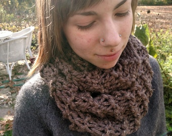 Cool Brown Knit Infinity Scarf (wool blend)