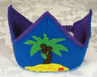 Sailor Crown, Boy Birthday Crown, Boy Party Crown, Handmade Boy Felt Crown