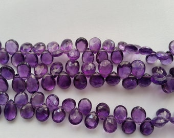 """Natural Amethyst Faceted Pear Shape 8"""" Strand 7x9 MM Approx Size"""