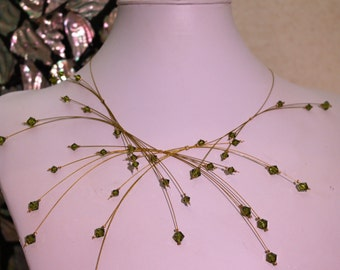 Statement Swarovski Necklace - The Milky Way Signature Necklace in Olive