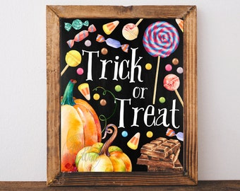 Trick or treat, Halloween, print, printable, decor, fall,  pumpkin, happy Halloween, wall art, Halloween decoration, Halloween poster