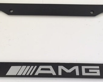 AMG Racing  - Black with Grey License Plate Frame - Black Series