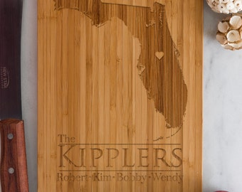 Florida Personalized Cutting Board Men Chef Dad Mom Gift Initials Home State Wedding Anniversary Kitchen Decor Shower Family Monogram Wood