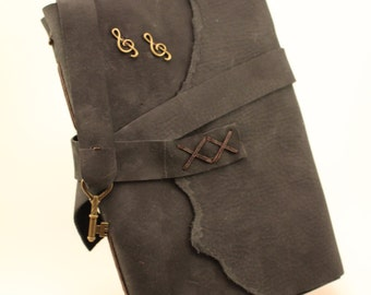 Black Leather Bound Journal with Treble Clef Music Accent
