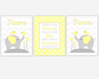 Twins Baby Nursery Canvas Wall Art Yellow Gray Grey Twin Wall Decor Elephant Safari Jungle Zoo Animals Baby Boy Girl Nursery Decor Prints