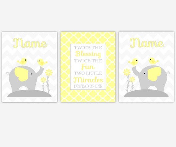 Elephant Twin Nursery Wall Art Nursery Room Decor For Twins: Twins Baby Nursery Canvas Wall Art Yellow Gray Grey Twin Wall
