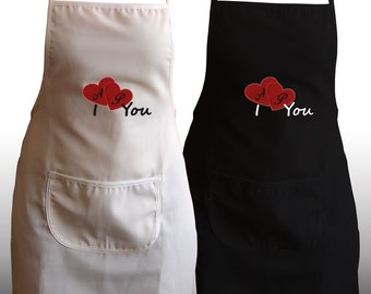 Valentines Day Gift Him / Her Personalized Set of 2 Aprons - Ref. I Love You