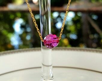 Sale! Pink Swarovski crystal and 14kt gf pendant, gold, 14kt gold filled,  pink, small