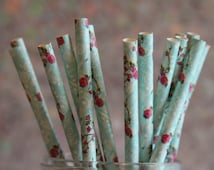 Fuchsia and Teal Printed Straws/Teal Floral Straws/Floral Rose Themed Paper Straws/Pink Floral Straws/Party Straws