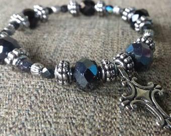 Black glass beaded cross bracelet