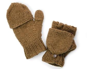 Wool Convertible Mittens, Texting Gloves, Hand Knit Glittens - Latte - 1950N