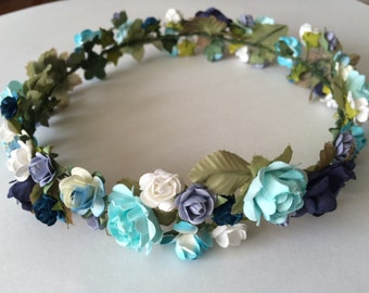 Flower crown, blue rose crown, flower headband, Coachella headpiece, Boho wedding hairpiece