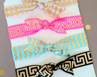 4 Collection of Gold Metallic Print Fold Over Elastic Hair Ties or Headbands, Pony Tail Hair Ties