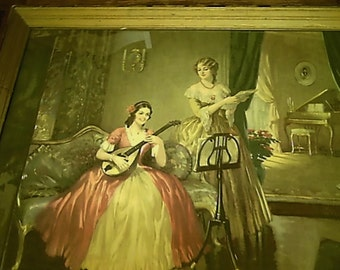 "Estate Sale Frederic Mizen American (1888 - 1964)  Framed Art Print on Board ""Music and Harmony"" Under Glass with Signature"