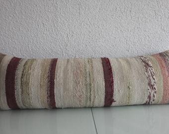 lumbar pillow cover 12x36 handmade pillow Multicolour Kilim Pillow Turkish Striped Kilim Pillow lumbar cushion 12x36 king lumbar 80