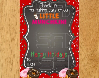 Dunkin Donuts Gift Card Holder Tag Printable, Happy Holidays Gift Card Holder, Holiday Printable