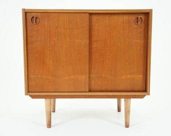 305-162 Danish Mid Century Modern Teak Two Door Cabinet