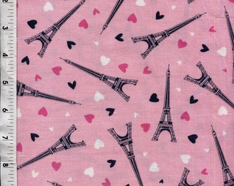 Eiffel Towers and Hearts Tossed Fabric Quilting Crafting