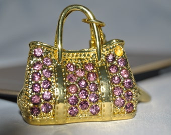 handbag keychain- Clutch keychain-Keychain-Girlfriend Keychain-Swarovski Keychain- Purple keychain-Friends gift