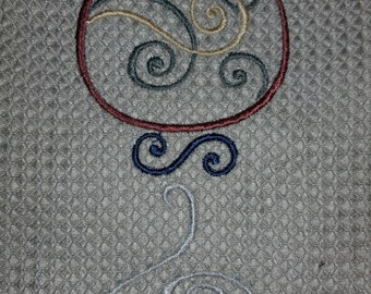 Swirl Wine Glass Embroidery Hand Towel