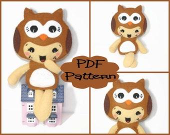 PDF Pattern - Owl Girl Felt Doll Pattern For Sewing Soft Plush Felt Toy Doll