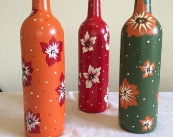 Bottle hand painted set of 3