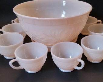 Anchor Hocking Ivory Sandwich Glass Punch Bowl with Tray and 6 Cups