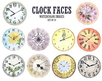 Watercolor clock face clipart Clock clip art Watercolor clipart