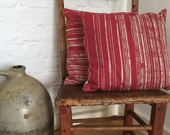Handmade Cushion with Red Stripes and Ivory Buttons