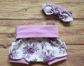 Kit headband/shorts * lilac flowers *.