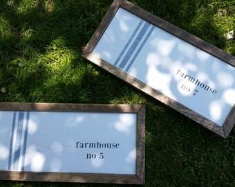 Gable Lane Crate exclusive Rustic farmhouse grainsack stripe framed sign CUSTOMIZABLE