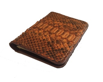 passport cover / genuine python leather / passport wallet. Genuine python skin / full grain veg tanned leather