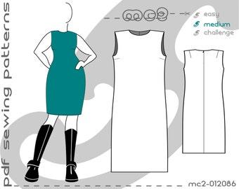 Shift Dress Plus Size (sizes: uk 18-24/ usa 14-20) SLOPER/BLOCK Sewing Digital pdf Pattern for Women >mc2patterns< mc2-012086