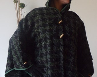 Tweed cape with hood.