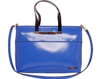 LAFatima Blue Leather Bag/Office Bag/Oversize Tote Bag/Leather Bag/Large Leather Tote BagMade in Italy/Leather Work Bag/Handmade Leather Bag