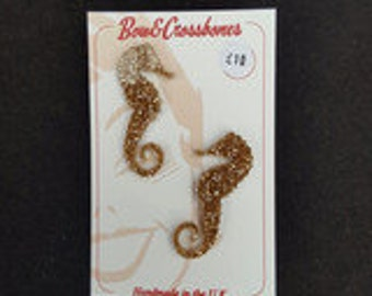 Seahorse Black or Gold Glitter Studs med - 1950s style, rockabilly, pinup