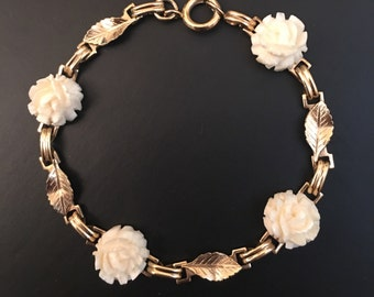 Celluloid Ivory Rose & Gold Tone Leaf Link Bracelet