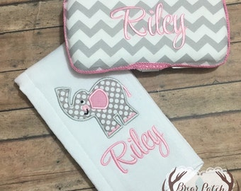 Personalized Baby Girl Elephant Burp Cloth and Travel Wipe Case Gift Set, Monogrammed Baby Pink and Gray Burp Cloth and Travel Wipe Case