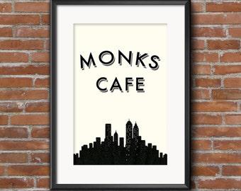 Seinfeld Quote Poster, Monks Cafe, Digital Art Print, New York Skyline, TV Show Print, Seinfeld Poster, Seinfeld Print, Monks Cafe Print