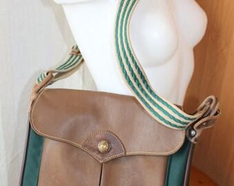 Vintage leather trimmed brown green shoulder bag  messenger bag