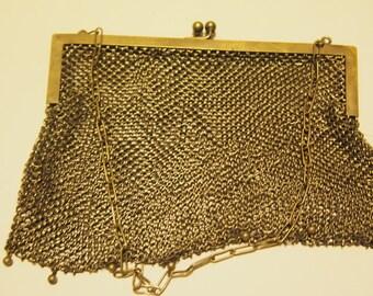 Vintage large mesh silver purse
