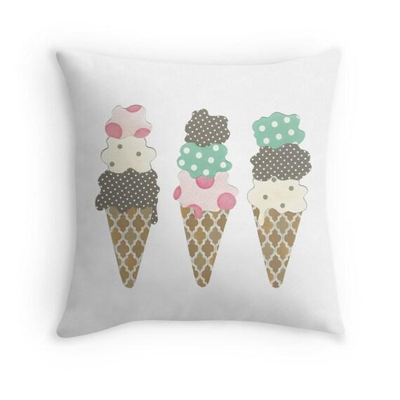 Ice Cream Throw Pillows : Ice Cream Cones Throw Pillow with Insert 16x16 Nursery