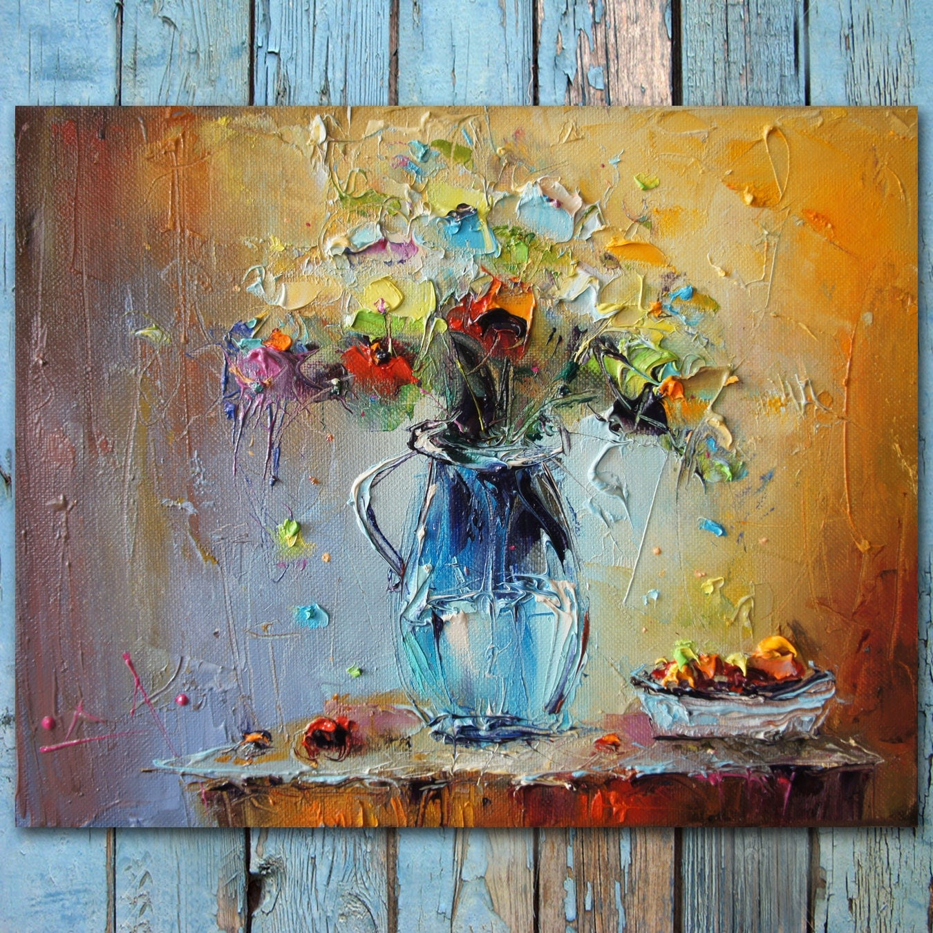 Palette knife flowers oil painting colorful still life for Oil paintings for the home