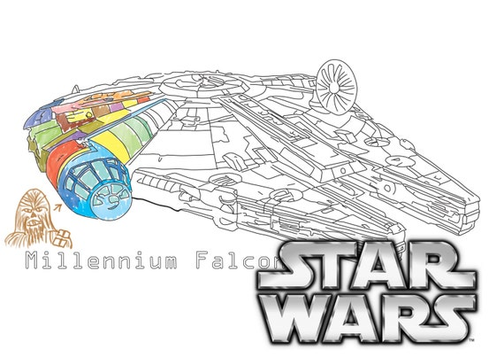 Items similar to Star Wars coloring page. Millenium falcon ...