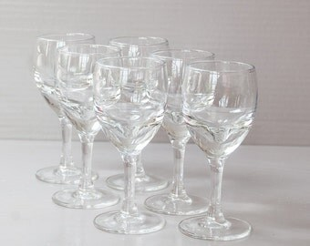 Set of 6 Vintage French bistro glasses. Thick bottom wine glasses, French Café Mid century.