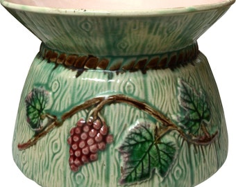 Antique Majolica Grape and Leaf Cuspidor